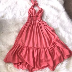 bcbg max azria peach silk halter dress